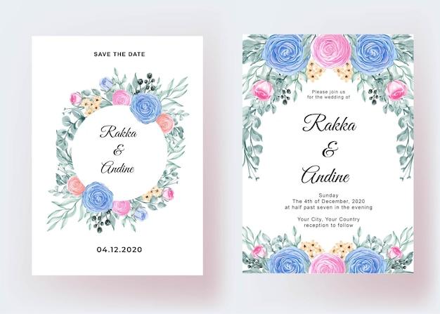 Wedding invitation with flower ranunculus romantic