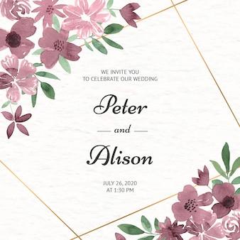 Свадебные приглашения с цветами в розовой акварели