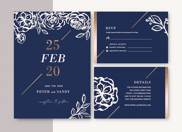 Wedding invitation with foliage romantic, creative flower watercolor