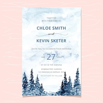 Wedding invitation with forest watercolor background