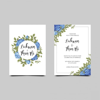 Wedding invitation with a frame of blue roses