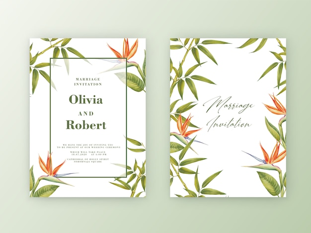 Wedding invitation with frame of watercolor botanical illustration of bamboo.
