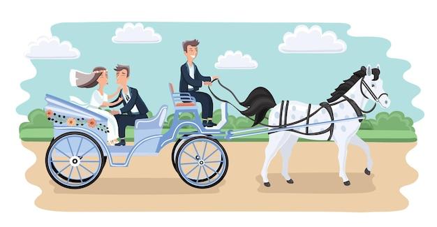 Приглашение на свадьбу с забавными женихом и невестой в карете Premium векторы