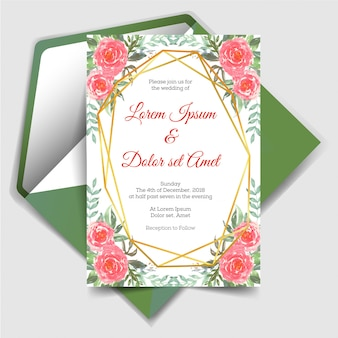 Wedding invitation with geometric watercolor floral