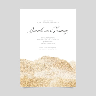 Wedding invitation with glitter
