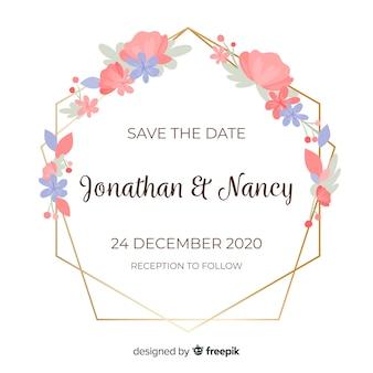 Wedding invitation with golden floral frame