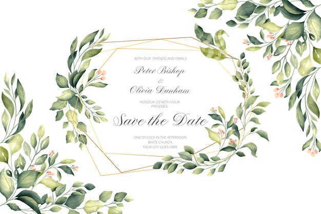 Wedding invitation with golden frame and green leaves