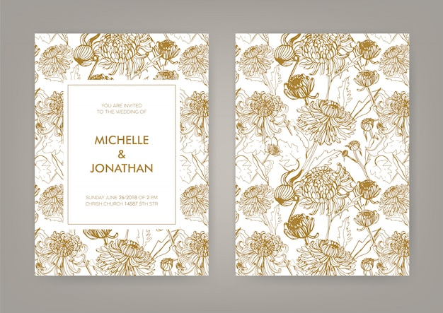 Свадебные приглашения с золотой японской хризантемы вертикальной карты. монохромная иллюстрация.