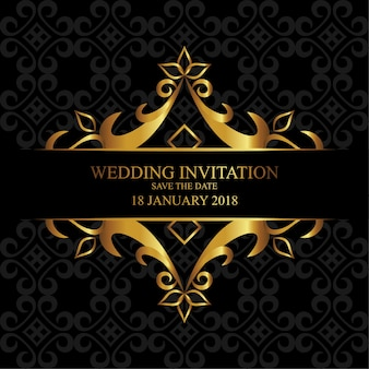 Свадебное приглашение с золотым орнаментом и бесшовным рисунком