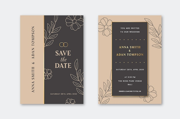 Wedding invitation with golden outline flowers