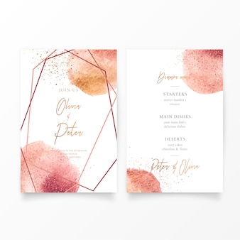 Wedding invitation with golden