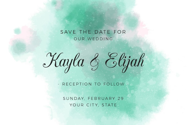 Wedding invitation with gradient watercolour green stains
