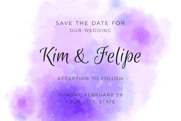 Wedding invitation with gradient watercolour violet stains