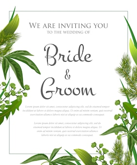 Wedding invitation with green leaves and fur branches.