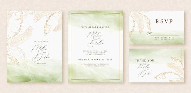 Приглашение на свадьбу с зелеными брызгами и золотыми контурными банановыми листьями