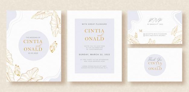 灰色の花のアートの結婚式の招待状