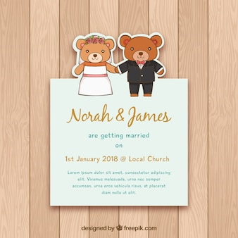 Wedding invitation with hand drawn bears
