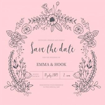 手描きの花のフレームと結婚式の招待状