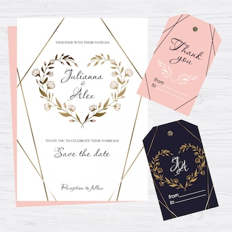Wedding invitation with hand drawn floral heart