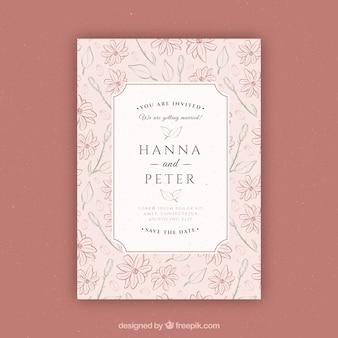 手描きの花の結婚式招待状
