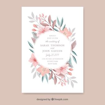 手描きの花と結婚式の招待状