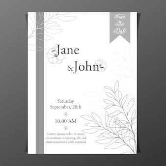 Wedding invitation with hand drawn leaves