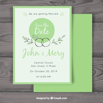 Wedding invitation with hand drawn rings
