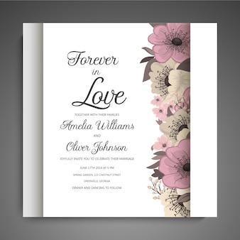 Wedding invitation with hand drown flower