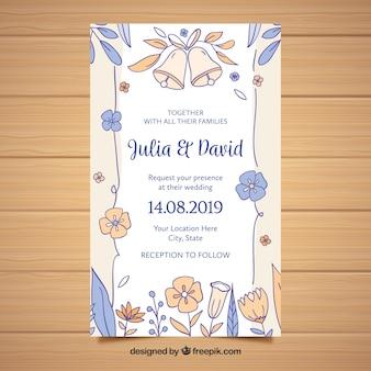 Wedding invitation with hand drwan flowers