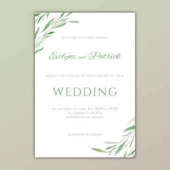 Wedding invitation with hand painted green leaves