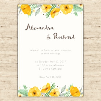 Wedding invitation with hand painted yellow flowers