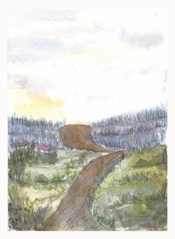 手描きのラベンダー畑の風景と結婚式の招待状