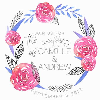 Wedding invitation with handdrawn watercolor wreath