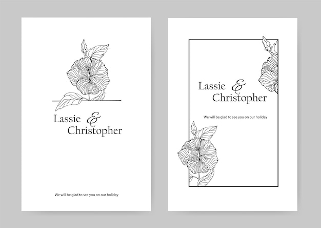 ハイビスカスとの結婚式の招待状。花のデザイン要素を持つrsvpグリーティングカードのデザイン。