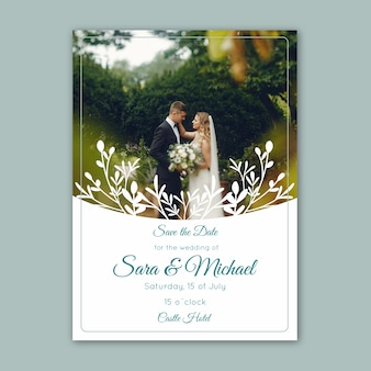 Wedding invitation with image template