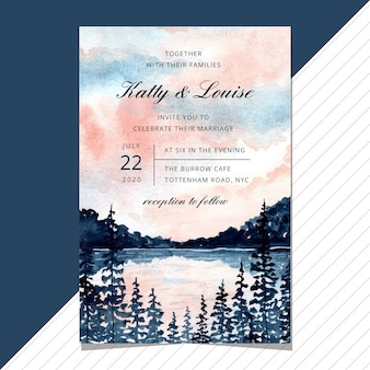 Wedding invitation with lake landscape watercolor.