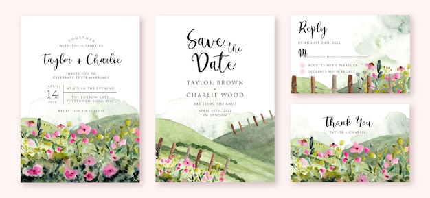 Свадебное приглашение с пейзажем холма и цветочным лугом акварель