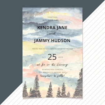 Wedding invitation with landscape watercolor background