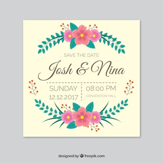 Wedding invitation with leaves and flowers