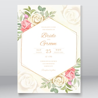 Wedding invitation with leaves and roses design