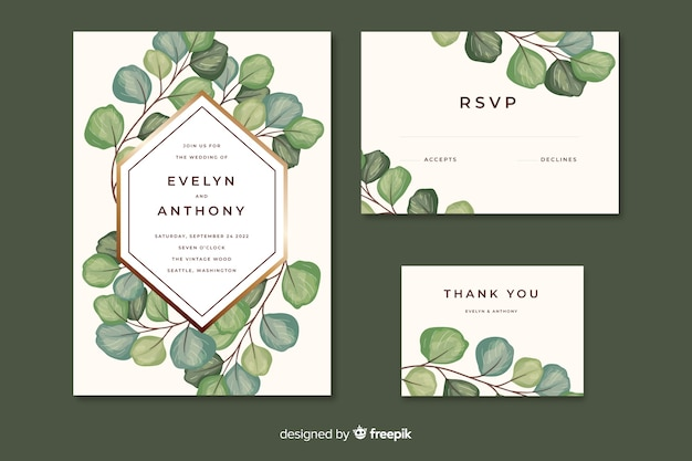 Wedding invitation with leaves watercolor style