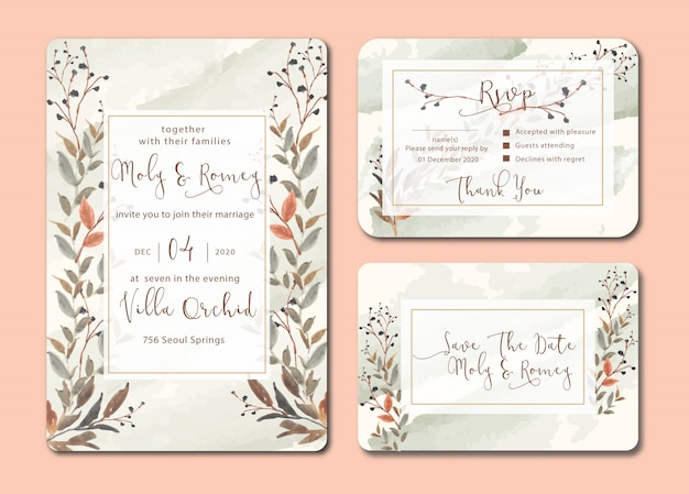 Wedding invitation with leaves watercolor and swatches brush background