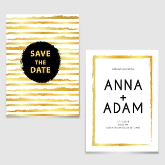 Wedding invitation with line brush gold and black
