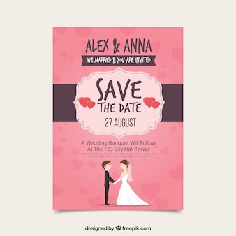 Wedding invitation with lovely couple