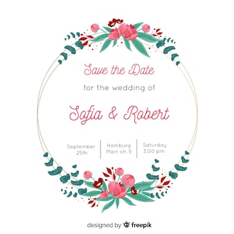 Wedding invitation with lovely floral frame template