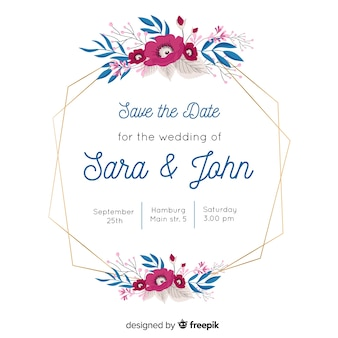 Wedding invitation with lovely floral frame