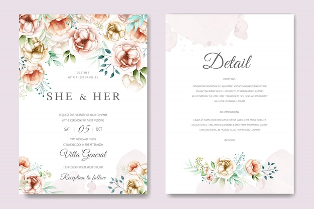 Wedding invitation with lovely watercolor flowers