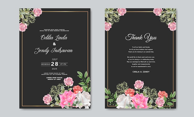 Wedding invitation with luxury and beauty floral