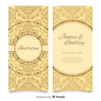 Wedding invitation with mandala