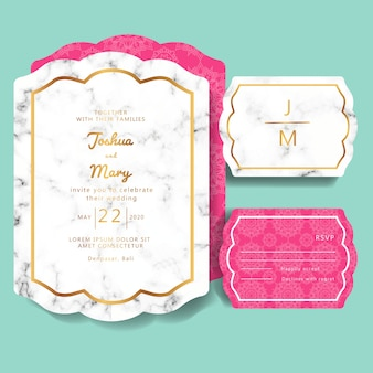 Wedding invitation with marble background